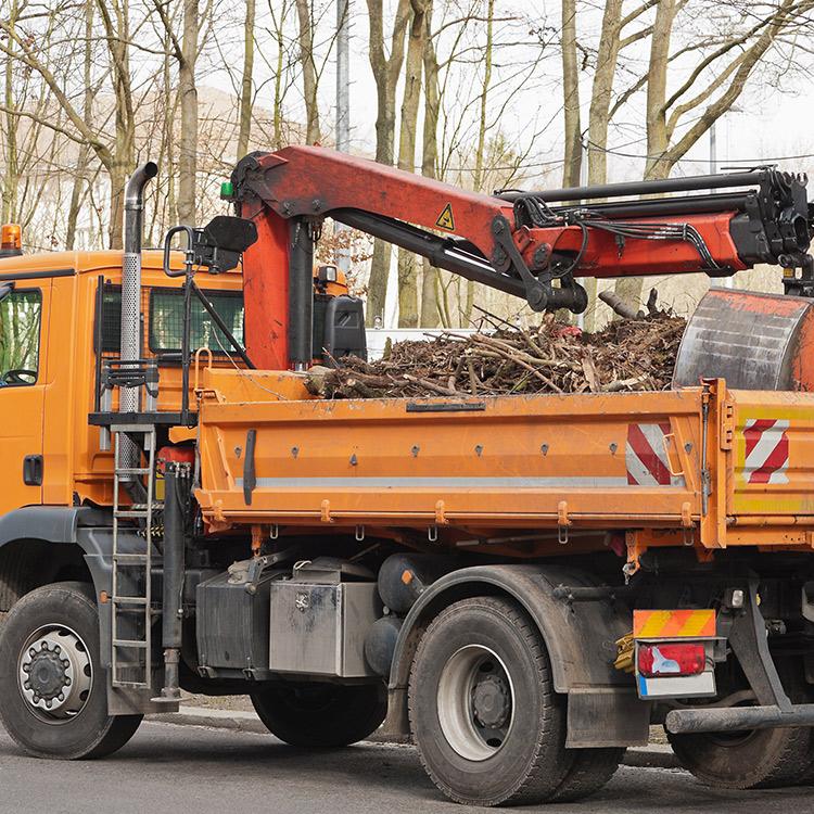 Orangenes Fahrzeug für Baumarbeiten